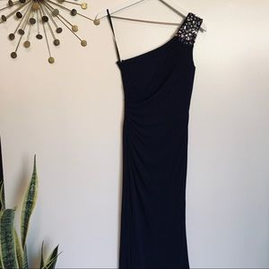 Laundry rhinestone embellished one shoulder gown 2